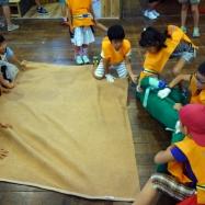 ケガ人のカエルちゃんを丁寧に毛布の上にのせます。